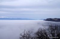 Вид на скалы Шидехт, Плато Лагонаки Грот Череп - вид из него рано утром