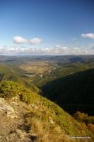 Вид с горы Трезубец на станицу Даховская Адыгея Белая Гранитный каньон