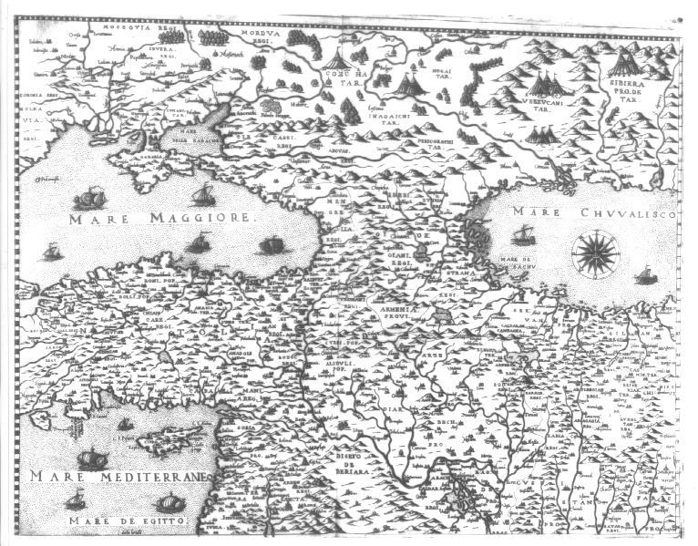 Карта Кавказа 1560 год
