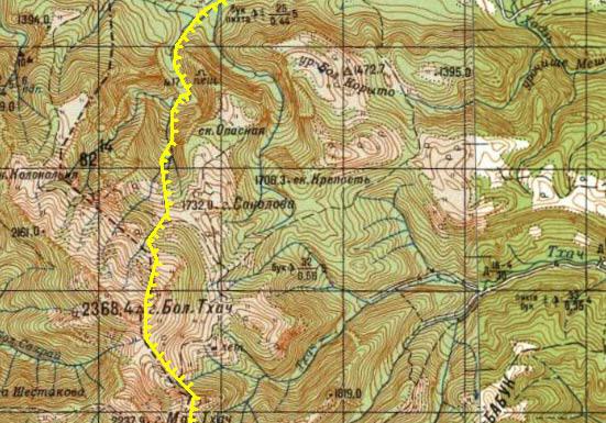 Большой Тхач карта границ