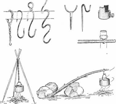 Рис. 68. Костровые приспособления и некоторые способы подвески посуды над костром