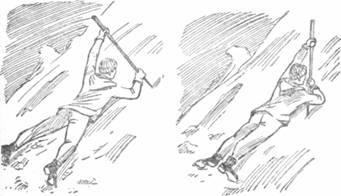 Рис. 69. Самозадержание на снежном склоне: слева — правильно; справа — неправильно