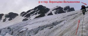 Прохождение трещин ледопада при подъёме к пер. Воронцова-Вельяминова