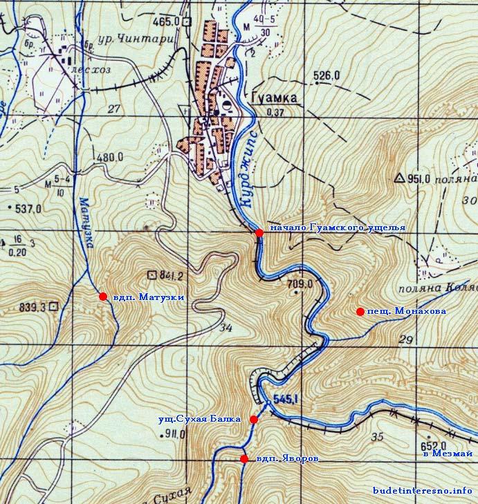 Карта Гуамки (Гуамское сай да оставшиеся достопримечательности)
