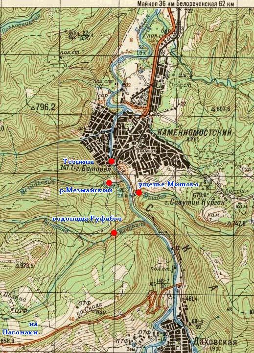 Карта Хаджоха и окрестностей