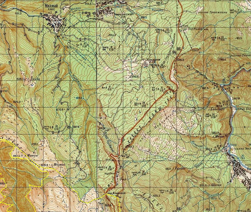 граница заповедника плато Лагонаки