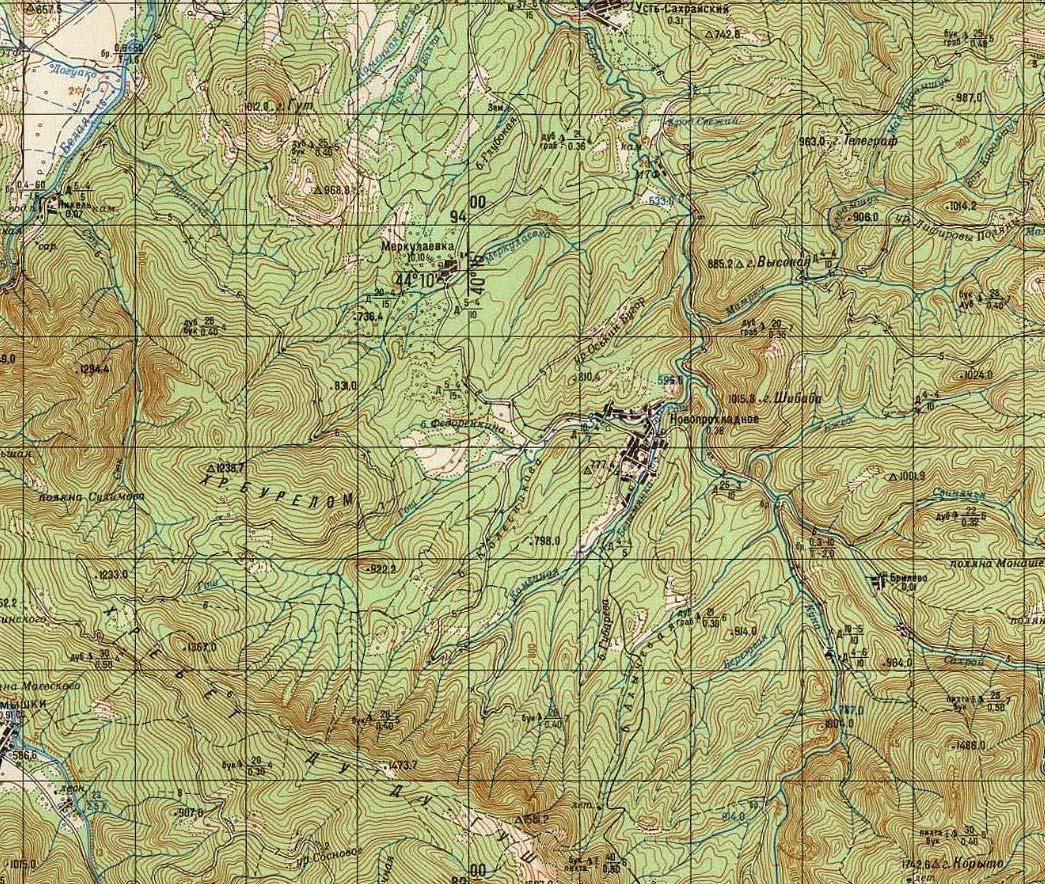 хребет Дудугуш, Новопрохладное сахрай карта