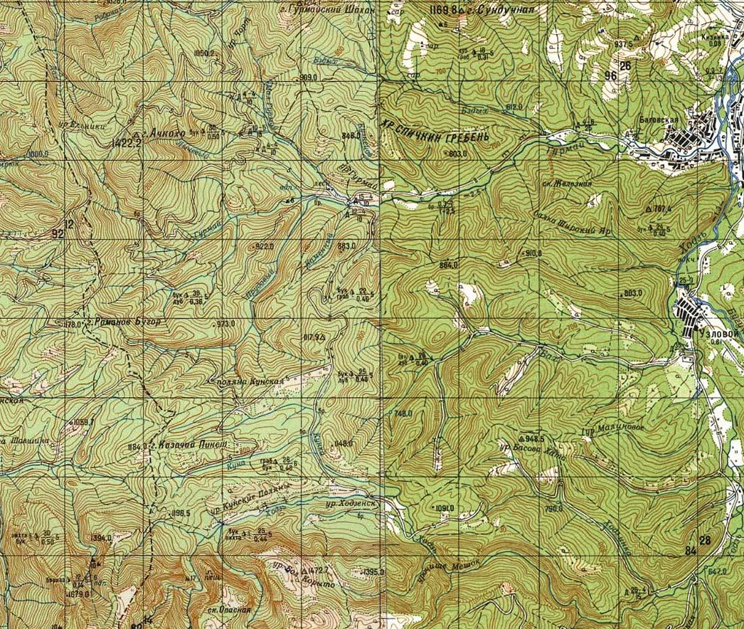 Узловой Ачкохо Романов Бугор Карта