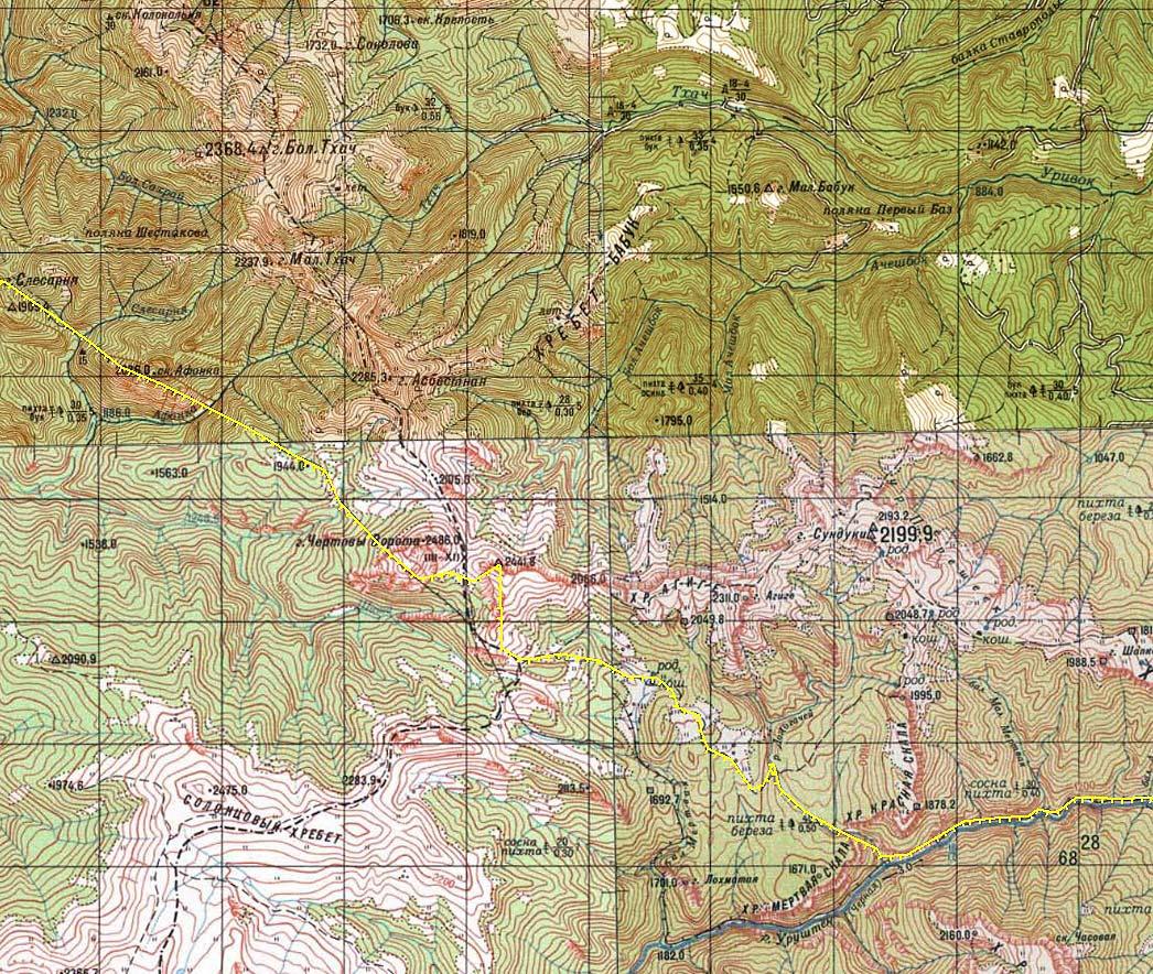 Карта Чертовы Ворота Ачешбок Тхач Большой и Малый Астбестная границы КГБЗ