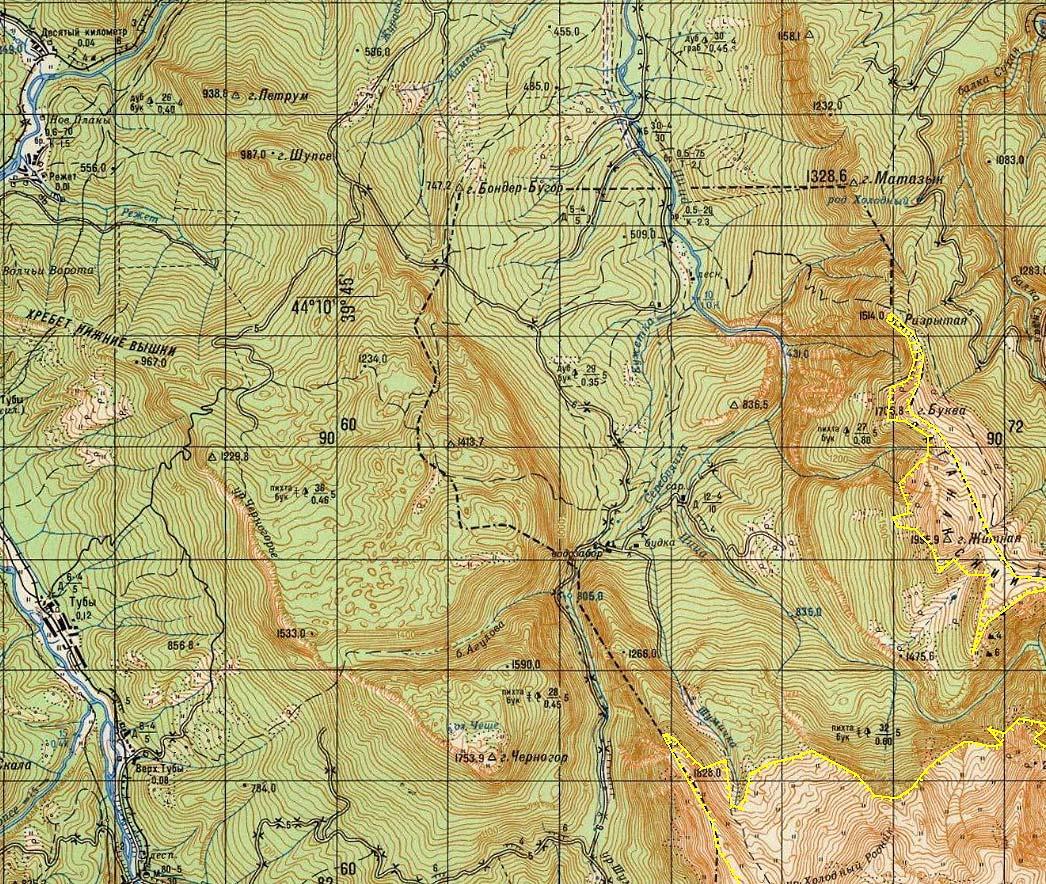 Карта границ Кавказского Заповедника Лаго Наки