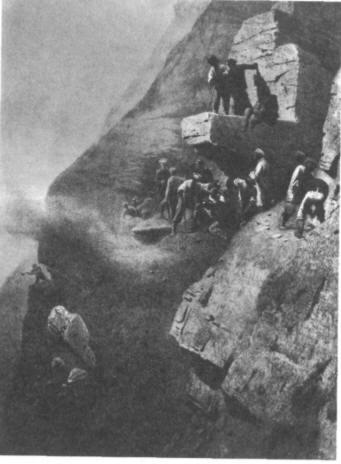 Русские солдаты строят дорогу в Дагестане. Рис. Т. Горшельта.