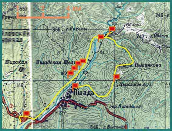 70 дольменов Пшады - карта